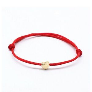 Minimalist  Lucky Heart  Red Rope